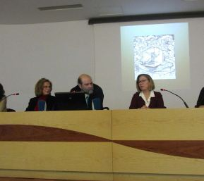 Con Luisa Núñez y Ángel Guardiola. Biblioteca Regional de Murcia. 2014.